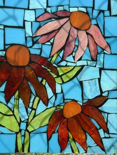 Stained Glass Mosaic Flowers Blue, Red and Pink