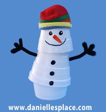 Poseable Snowman cup craft www.daniellesplace.com