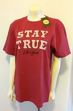 Life is Good Crusher Tee Men's Medium M Red T Shirt Classic Fit Stay True Unisex #LifeIsGood #GraphicTee