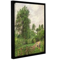 ArtWall Camille Pissarro's 'Paysage, Temps Gris A Eragny, 1899' Gallery Wrapped Floater-framed