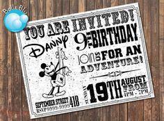 Mickey Mouse Chevron Vintage Retro Birthday Party Invitation
