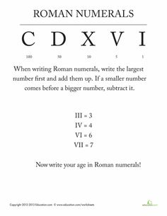 Worksheets: Roman Numerals for Kids
