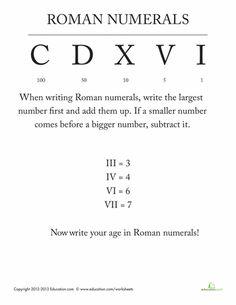 roman numeral worksheets math genius pinterest roman