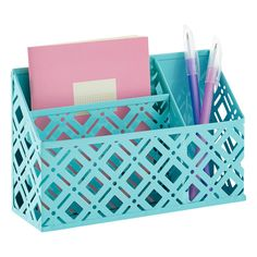Store anything from paper clips to rubber bands and pencils in our Charleston Organizer Bin. They are perfect for use in a locker, on a refrigerator, filing cabinet or our magnetic message boards and their beautiful design makes a statement for all to see!