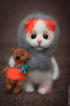 Игрушки животные, ручной работы. Ярмарка Мастеров - ручная работа. Купить Машенька и Медведь. Handmade. Кот, котенок в подарок