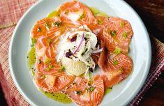 Carpaccio de salmón, hinojo y pomelo (para 4 personas