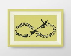 This whimsical Peter Pan silhouette. | 21 Disney Cross Stitch Designs You'll Want In Your Home