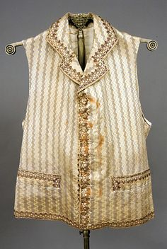 Brown & Gold Silk Waistcoat, England, Late 18th C