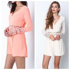 NEON CORAL ROMPER (sold out of cream) 98% polyester, 2% spandex   available in small, medium, & large  MODEL IS WEARING THE EXACT PRODUCT   10% off bundles of 2 items  20% off bundles of 3 (or more) items   * comment below what size you'd like & I'll make you a separate listing to purchase     I own an online boutique called Danalli, most of the items we sell are brands you'll find at stores such as Nasty Gal, Urban Outfitters, Nordstrom, ASOS, etc. just at more affordable prices   Any…