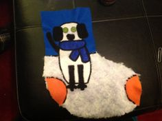 Adorable customized dog Christmas stockings! Customized with colors, name and eye color. So cute!