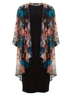Scarlett & Jo Multicoloured Floral Waterfall Kimono With Black Dress – Plus Size Fashion Plus Size Dresses Uk, Plus Size Outfits, Modest Fashion, Hijab Fashion, Fashion Outfits, Blouse Styles, Blouse Designs, Scarlett And Jo, Chiffon Kimono