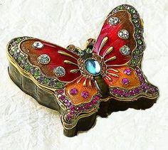 Ruby Red mariposa del esmalte Jewel Box