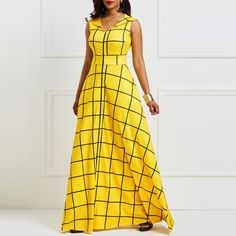 Kinikiss 2019 summer dress women sleeveless plaid twilled satin yellow party dress elegant pocket notched lapel blue dress long – T S F African Attire, African Fashion Dresses, African Dress, Fashion Outfits, Plaid Fashion, Fashion Hacks, African Style, Fashion Ideas, Women's Fashion