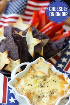 4th of July Appetizer: White Cheddar & Vidalia Onion Dip. Serve with blue tortilla chips and red pepper slices to keep it festive!