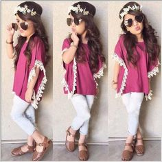 Super Cute Girls Pink w/white lace top + pants