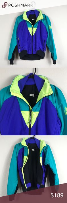 Vintage Style Neon Yellow Purple Jacket Coat Beautiful jacket fleece coat.  Size medium-please see last photo for a more true to color pic-except in the last photo the neon yellow doesn't show as a true light neon and it is.  Wish this was my size!  Love! C4 Jackets & Coats