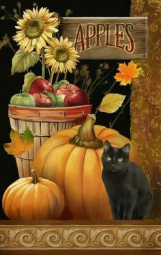The Evergreen Flag Antiques for Sale House Flag is adorned with classic autumn motifs like pumpkins, leaves, and a black cat. Autumn Painting, Autumn Art, Tole Painting, Autumn Theme, Halloween Chat Noir, Fall Halloween, Creation Photo, Autumn Scenes, Pintura Country