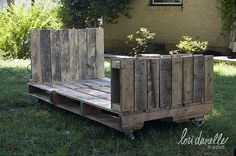 "Pallet Furniture..This bed.....day bed is made from old pallets ...pinned to ""It's a Pallet Jack"" by Pamela"