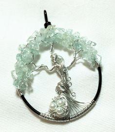 Ostara Goddess of Spring Tree of Life - Aquamarine Tree of Life by SassyMyDesigns on Etsy