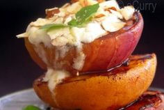 Grilled Peaches with Lemon Yogurt & Honey — Recipe from eCurry