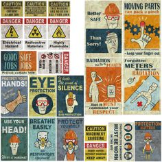 Factory Safety Signs - Fallout 4 by on DeviantArt Fallout 4 Poster, Fallout Theme, Fallout Props, Fallout Art, Fallout New Vegas, The Jetsons, Gamers Anime, Post Apocalypse, Diorama