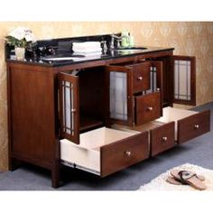 Granite Top 60-Inch Double Sink Bathroom Vanity california 60-in double sink bath vanity (carrera/white) modern