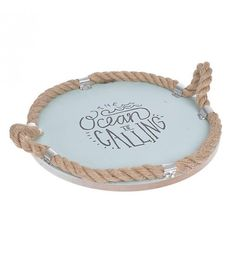 WOODEN TRAY 'OCEAN' W_ROPE 30X30X8