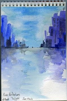 "Easy Painting Exercise -- ""It's a water reflection painting and you can change up the scenery and make several of these."""