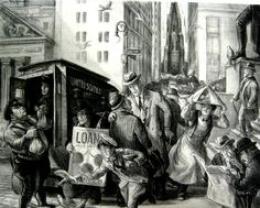 """""""Wall Street at Noon"""" Lithograph, 1934 11 in. x 14 in. mm x 371 mm) Edition of 35 or fewer Don Freeman, Social Realism, Art Students League, City Streets, Wall Street, Illustration, Painting, Painting Art, Paintings"""