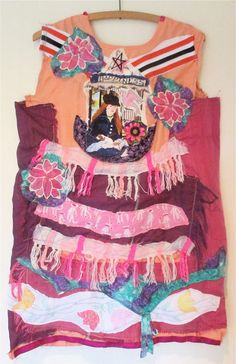Embroidery Applique Fringe Buttons Recycled Materials Collage Clothing Bohemian Boho // mybonny cannon beach