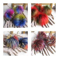 Four Faux fur Pom pom Colorful Fur Pom Pom for knit Hats Soft