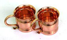 Copper Moscow Mule Mugs / Copper Flat Handle Capacity-14 Ounce Set Of 2 #Visvabhavanah