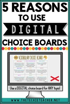 5 Reasons to Use Digital Choice Boards in the Classroom: Personalize learning with digital choice boards and activities. Great way to integrate technology into the classroom while providing a rich learning experience for a variety of learners. Digital dif Teaching Technology, Educational Technology, Technology Tools, Business Technology, Medical Technology, Technology In Classroom, Technology Vocabulary, Technology Integration, Futuristic Technology