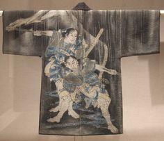Fireman's coat depicting Soga brothers (hikeshi sashiko hanten) Nationality: Japanese Creation date: 19th Century Period: Meiji Materials: cotton Gallery label: The interior of firemen's coats were...