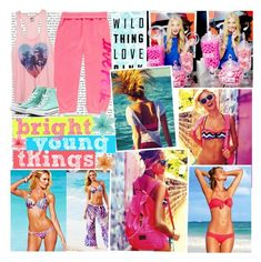 """""""Wild Thing Love Pink"""" by elaine-elizabethxo ❤ liked on Polyvore featuring Victoria's Secret, Victoria's Secret PINK, Converse, vintage, victoria's secret pink, summer and bright young things"""