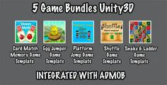 5 Game Bundles Unity3D + Each template Admob integrated + supported for iOS & Android + Unity3D - Price $69