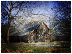 sunbeams on an old barn
