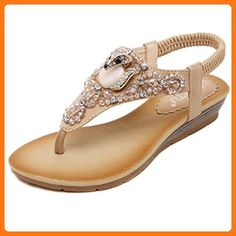62d9e9c9b91a33 D2C Beauty Women s Fox Rhinestone Beads Fashion Flat Thong Sandals- Apricot  9 M US (