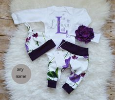 Baby Girl Coming Home Outfit Baby Girl Clothes Monogrammed Bodysuit Birthday Girl Outfit Organic Personalized Baby Outfit Purple Floral