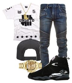 """T.I.- Money Talk"" by young-rich-nvgga ❤ liked on Polyvore featuring Alex and Chloe, Balmain, Rolex, Roial, men's fashion and menswear"