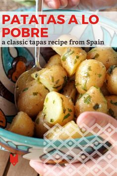"""Patatas a lo pobre (literally """"poor man's potatoes) is one of the best tapas dishes you'll find in Sevilla, Spain. It comes together easily with market-fresh ingredients and will make you feel like you're at a Spanish restaurant from the first bite! Try this recipe at home for a taste of Andalusia. Home Fried Potatoes, Best Tapas, Tapas Dishes, Sevilla Spain, Tasty, Yummy Food, First Bite, Andalusia, Malaga"""