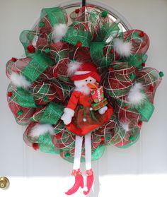 Mesh Christmas wreath, Christmas wreath, snowman wreath, mesh wreath, front door wreath, outdoor wreath, outdoor door wreath, door hanging by ritzywreaths on Etsy