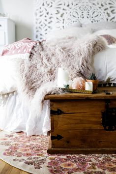 Urban Outfitters bedroom with Magical Thinking Pom-Fringe Duvet Cover and Faux Lamb Fur Throw Blanket