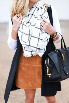 black and white windowpane scarf and suede mini skirt
