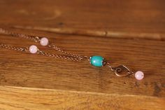 Blue Pink hand made romantic necklace ! On https://www.etsy.com/it/shop/DrawingJewelry?ref=hdr_shop_menu