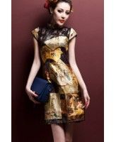 Women's Clothing Black Peacock Slim Qipao Oversize Mandarin Collar Cheongsam Traditional Printed Casual Dress Satin High Split Gowns Vestidos Promoting Health And Curing Diseases