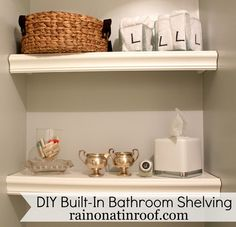 Wasted space above the toilet? Try this DIY built-in bathroom shelving to add some stylish storage. And, it only costs around $25.