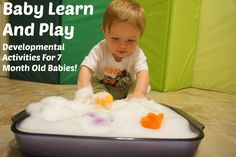 Sudsy Fun: Come join me as I explore some simple and fun activities that you can try with your young infant.