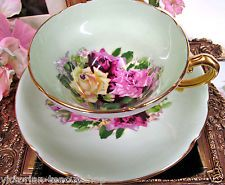 STANLEY TEA CUP AND SAUCER LIME GREEN & ROSES PATTERN TEACUP WIDE MOUTH