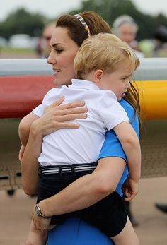 Catherine, Duchess of Cambridge and Prince George appeared to grow weary by the end of the day